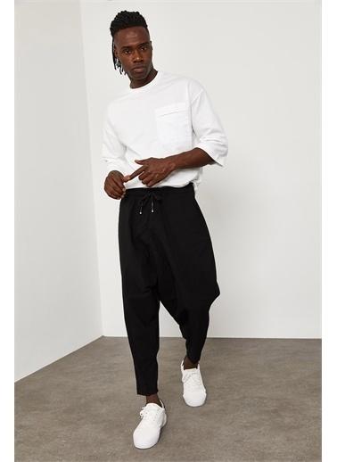 XHAN Beli Lastikli Bağcıklı Şalvar Pantolon 1YXE5-45103-02 Siyah